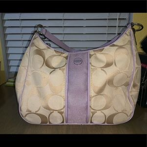 Purple and Beige Coach Purse Good Condition